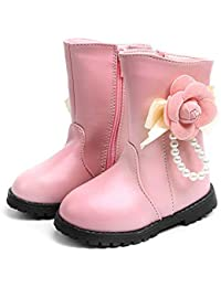 1df758aaf Botas Medias de Flores Botas de Nieve de Niñas Botas de Martin Estilo  Británico Zapatos de Bebé Invierno de Algodón…