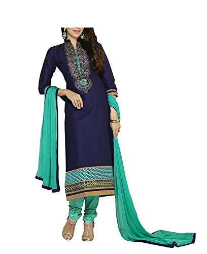 Attire Design Women's Printed Unstitched Regular Wear Salwar Suit Dress Material(Karishmaprinted_Navyblue_Freesize)  available at amazon for Rs.196