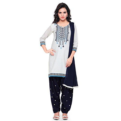 Kvsfab Women\'s Cotton Patiala Salwar Suit,(unstitched dress material,White & Blue)