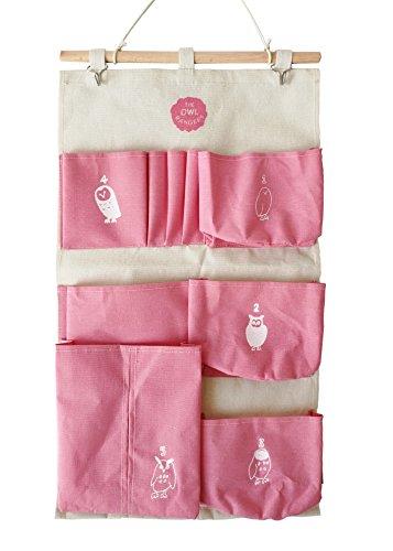 10 Pocket Wand (Kingree Aufbewahrungstasche für Zeitschriften, zum Aufhängen an der Wand oder Tür 6 Pockets-owl-pink)