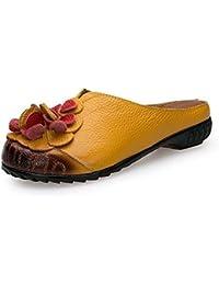 Onfly Pompe Mules Chaussons Des sandales Dames Cuir véritable Confortable Respirant Fleurs Fond doux Chaussures plates Cool Pantoufles Eu Taille 35-40