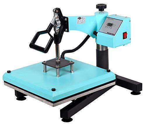 RICOO Transferpresse T538B-TB T-Shirtpresse Heat Press Thermopresse Textilpresse für Transfer-Folie Transfer-Papier Druckfläche 38x38cm / Türkisblau