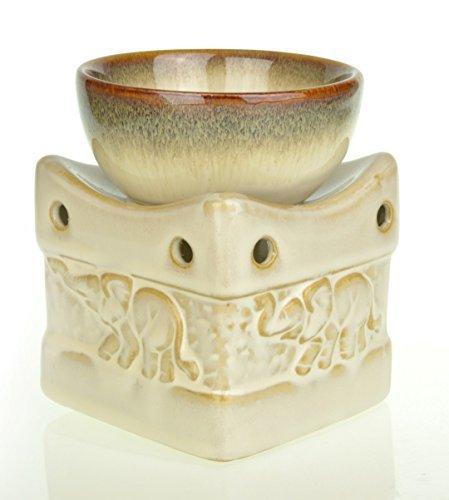 Quemador de aceite de cerámica con decoración de elefantes, cuenco profundo de 11 cm, con 1 vela