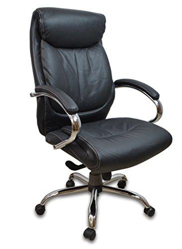 Chefsessel Kings - Schwarz Chrome Echtes Leder - Bürostuhl Schreibtischstuhl Drehstuhl Sessel Stuhl PokerStuhl Casinostuhl Gamerstuhl