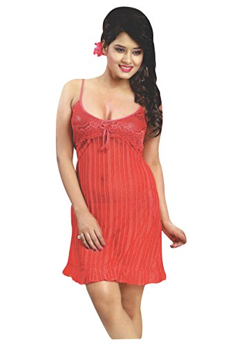 Indiatrendzs Women Sexy Red Short Night Dress With Lingerie Set For First Night Pack Of 3