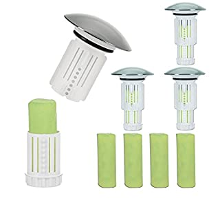 Waste Fairy 00182 Sealing Caps Set of 4 (White, includes 8 Toilet Bowl Stones Apple Lemon Scent)