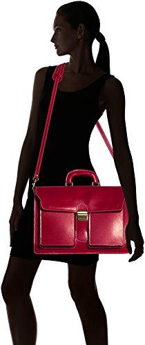 CTM-Beutel-Männer Aktenkoffer Aktentasche zur Arbeit, 41x31x18cm, 100% echtes Leder Made in Italy Rot (Rosso)
