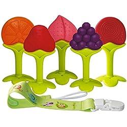 Anneaux de Dentition Bébé Réfrigérateur sans BPA Jouets de Dentition pour Bébé Fruits Silicone Approuvés par la FDA avec Chaîne Anti-Chute (5 pièces)
