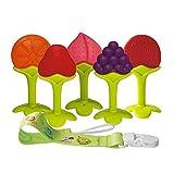 Beißring für Babys Baby Zahnungshilfe Kühlend Zahnen Spielzeug Zahnungshilfe BPA Frei Weich mit Schnuller Clip für Kleinkind Säugling Jungen Mädchen (Obst)