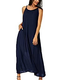 Auxo Damen Ärmellos Kleid V-Ausschnitt Lose Lange Kleider Cocktail Maxi  Dress Oversize 660db5b806