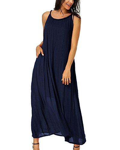 Auxo Femme Robe Longue Été Bohème Chic Col Rond sans Manche Imprime Robe de Plage Vacances Marine EU 44/Etikettgröße 2XL