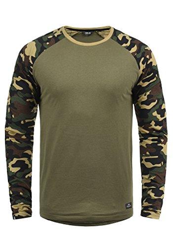 !Solid Cajus Camiseta De Manga Larga Camuflaje Estilo Militar Estampada Longsleeve para Hombre con Cuello Redondo De 100% algodón, tamaño:M, Color:Dusty Oliv (3784)