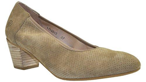 JJ Footwear Damen Schuh Leder Arica Weit Beige GoatSuede