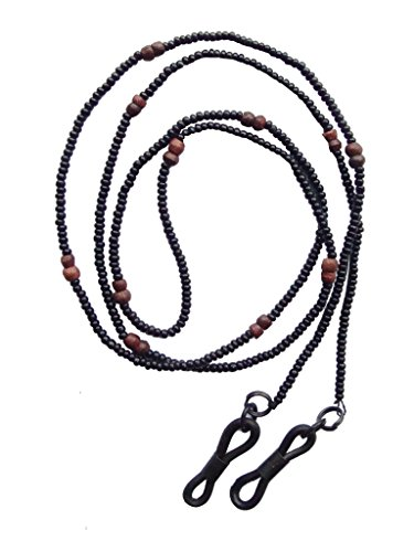NEW Black Seed & Wooden Beaded Eyewear Glasses / Sunglasses Cord Strap Chain