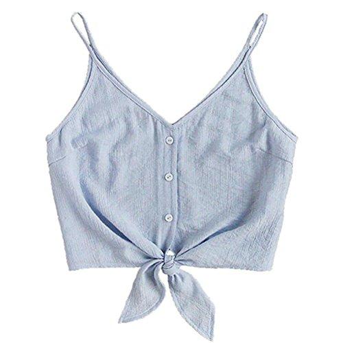 TUDUZ T-Shirt Damen Sommer Damen V-Ausschnitt Knopf Crop Top Bluse Camisole Riemen Rundhals Tie up Junges Mädchen(S,Blau)