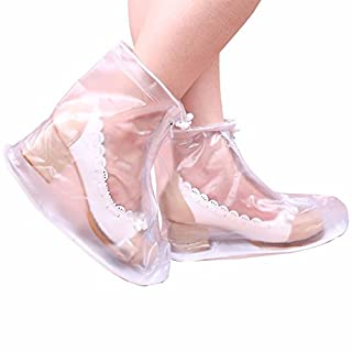 Tutoy Men Women Rain Shoes Cover Zipper Ankleboots Waterproof Flat Slip Resistant Overshoes Accessories - Transparent-S