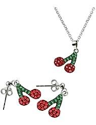 conjunto de plata para niña con pendientes, colgante y cadena de 40cm (ZIERETZA1)