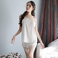 Ronshin Sleepwear Women Sexy Seductive Lace Backless Sling Nightdress white One size