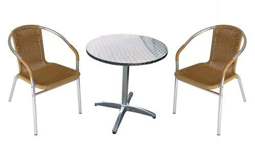 TPFGarden Bistroset Balkonset Rattanset NILS | Sitzgarnitur aus Aluminium Tisch & Bistrostuhl /...