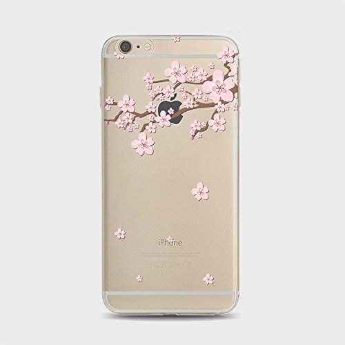 Coque iPhone 5 5s Housse étui-Case Transparent Liquid Crystal Sakura en TPU Silicone Clair,Protection Ultra Mince Premium,Coque Prime pour iPhone 5 5s-style 1 style 7