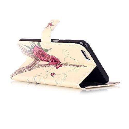 Custodia per Apple iPhone 6 Plus / 6S Plus, TOCASO Copertura di Ccuoio Cover in PU Dipinto Sintetica Ecopelle Pelle Guscio per iPhone 6 Plus / 6S Plus Protezione Caso Ultra Sottile shell protettivi Bu Rose e Torre
