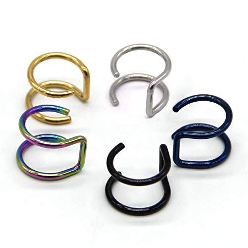 fake piercings lippe Fake-Piercing / Clip, Unisex, für Septum, Ohr, und Lippen, 1,2mm (16G), Edelstahl, Kreolen-Form, 5Stück