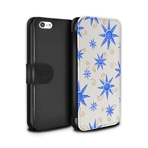 Stuff4 Coque/Etui/Housse Cuir PU Case/Cover pour Apple iPhone 5C / Noir/Blanc Design / Motif Soleil Collection Bleu/Blanc