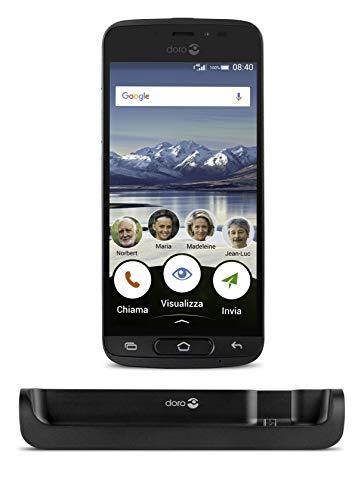 """Doro 8040 Smartphone 4G per Senior con Display da 5"""", Fotocamera da 8 MP e App Google Preinstallate (Nero)"""