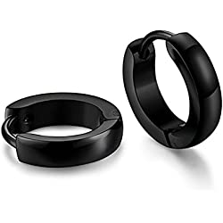 Caratcube Black Stainless Steel Hoop Earrings For Unisex