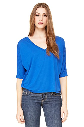 Bella Corrente a maniche corte T-Shirt ventre pirrolidone con V-taglio Echt königsblau