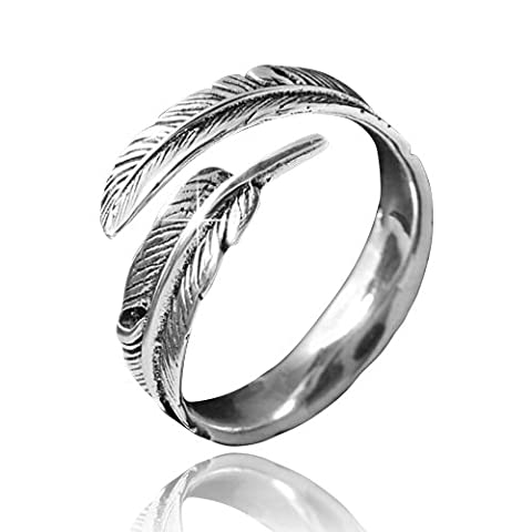 Materia # Feathers Antique Silver/Silver Women's Ring in Size 52 Adjustable 60/Size Sr/23