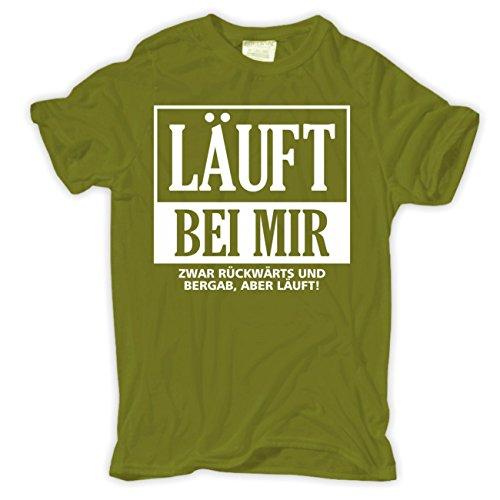 Männer und Herren T-Shirt LÄUFT BEI MIR zwar rückwärts und bergab Aschgrau