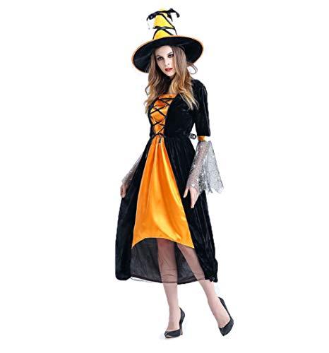 Wicked Kostüm Größentabelle - SOOKi Frauen Halloween Kostüme Wicked Hexe Kleid mit Hut Kleid-Yellow