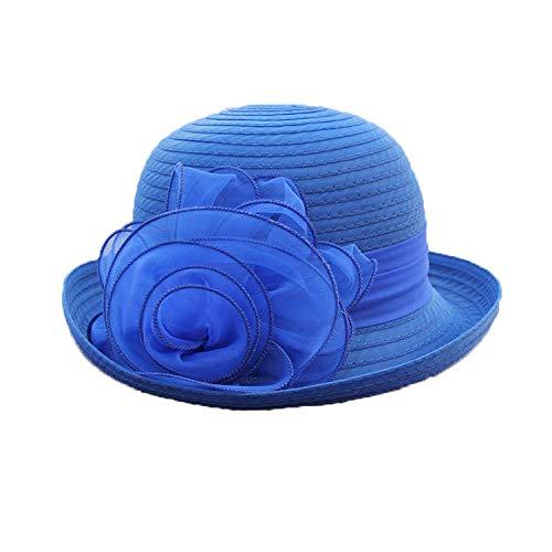 Damenhut Frühling Sommer Sonnenhut Eleganter Vintage Blumenhut Organza Sonnenbrille mit breitem Rand UV-Schutz 56-58cm,Blue