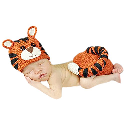 DELEY Neugeborene Baby Häkelarbeit Knit Tiger Kostüm Outfits Caps Hosen Set Baby Fotografie Requisiten 0-6 Monate