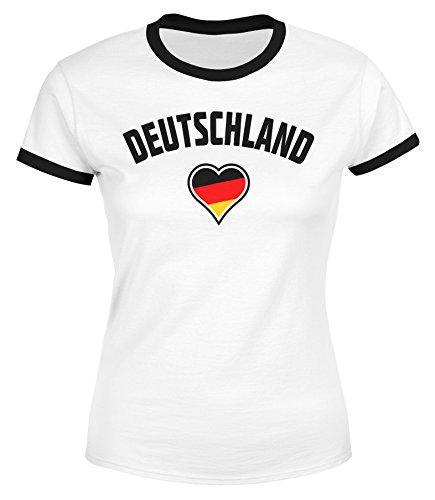 MoonWorks Damen WM-Shirt Deutschland Herz 2018 Retro Trikot-Look Weiß-Schwarz M