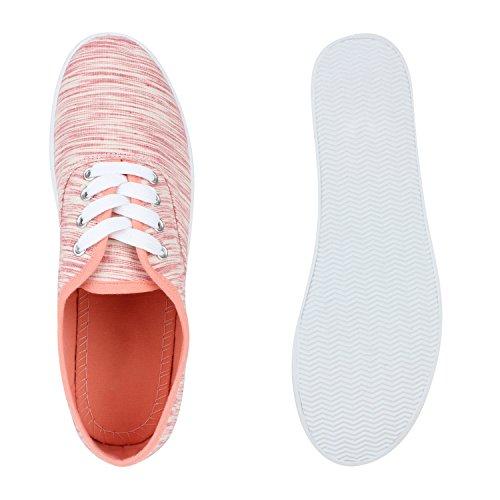 Damen Sneakers Stoff Sneaker Low Muster Basic Schuhe Animal Print Freizeit Turnschuhe Schnürer Flandell Peach Amares