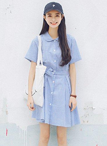 Azbro Women's Plaid Short Sleeve Button down Shirt Dress with Belt blue
