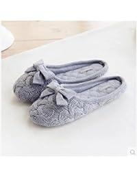 Tejer lana arco deslizador tranquilo Interior antideslizante en las mujeres de zapatillas de hogar oficina , 38-39