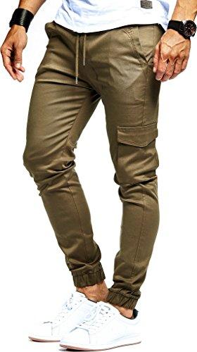 LEIF NELSON Herren Jogger Chino Cargo Jeans Hose Freitzeithose LN8071; Größe XXL; Khaki -
