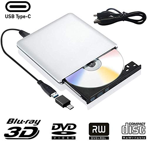 Externe Blu Ray CD DVD Laufwerk 3D USB 3.0 USB Type C Externes Blueray CD DVD RW Rom Tragbar Brenner für PC MacBook iMac Mac OS Windows 7/8/10/Vista/XP