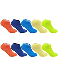 L&K Pack de 10 Calcetines Cortos Sneaker de deporte para Mujer Hombre Unisex 2101