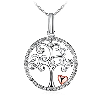 "Necklace for Women, 925 Sterling Silver Pendant Neckelace J.Rosée ""Tree of Life"" Best Valentine Gift for Women Gift Packed, 18""+2"" Extender"