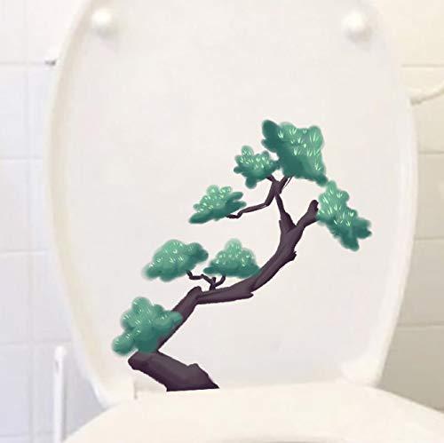 Wc-Aufkleber Handgemaltes Aquarell Pine Tree Wc-Sitz Aufkleber Startseite Wanddekoration (1 Beutel / 2 SäTze) 21,1 * 20,9 Cm - Pine Wc