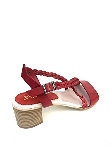 Sandali tacco medio nn22 in pelle intrecciata rosso nero verde MainApps Rosso