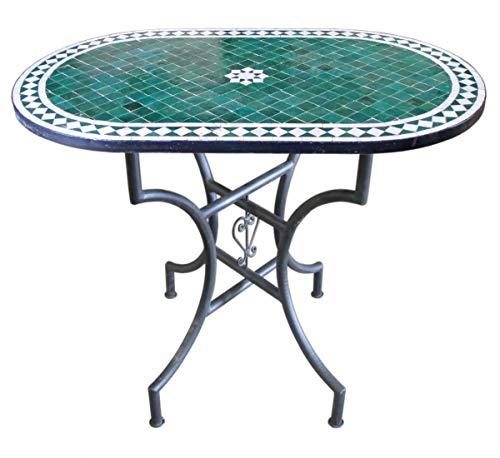 Saharashop Orientalischer Mosaiktisch Fleur Grün Oval