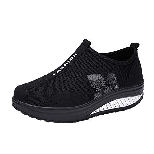 Fenverk Damen Netz Mit Keilabsatz Laufschuhe Sport Freizeitschuhe Atmungsaktiv Plateau Wedges Sneaker Slip On Mesh-OberfläChe Schuhe Sommer Loafers Gr. 35-40 (A Schwarzer, 36 EU)