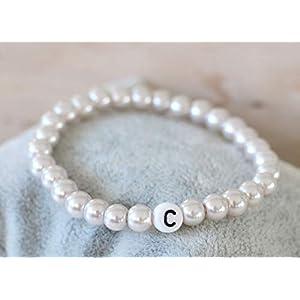 Namensarmband rose mit 1 Buchstaben Partnerarmband Wunschname Perlen Armband personalisiert Wunschtext Initialen Kommunion Kind Herren Damen