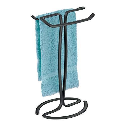 InterDesign Axis Handtuchhalter freistehend, kleiner Handtuchständer aus Metall, mattschwarz