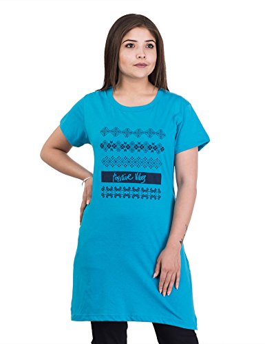 Duchess Long Round Neck Tshirts for Women Casual Night top, Graphic Print Nightwear Dress FIROZI 2XL